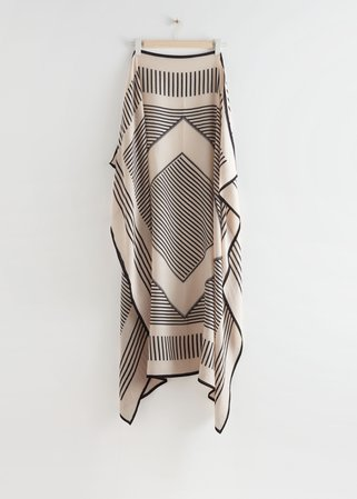 Striped Light Wool Scarf - Black, White - Lightweight scarves - & Other Stories