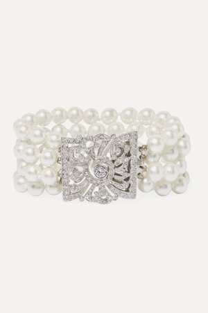 Silver Silver-tone, faux pearl and crystal bracelet | Kenneth Jay Lane | NET-A-PORTER