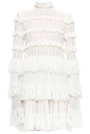 Alexander McQueen Long-Sleeve Tiered-Lace Ruffle Dress, Ivory