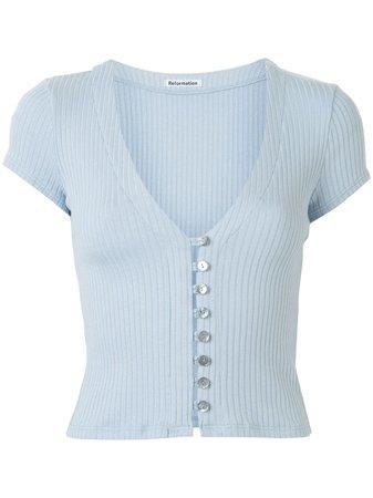 Reformation Nella Buttoned rib-knit Top - Farfetch
