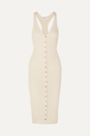 Cream Harper ribbed stretch-cotton jersey dress   The Line By K   NET-A-PORTER