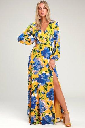 Yellow Floral Print Dress - Maxi Dress - Long Sleeve Dress