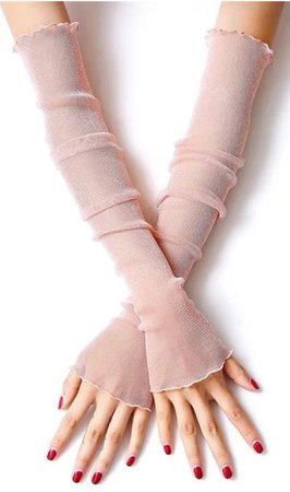 Pink Arm Sleeves Women Summer Driving Gloves Sexy Sheer Glitter Mesh Gloves