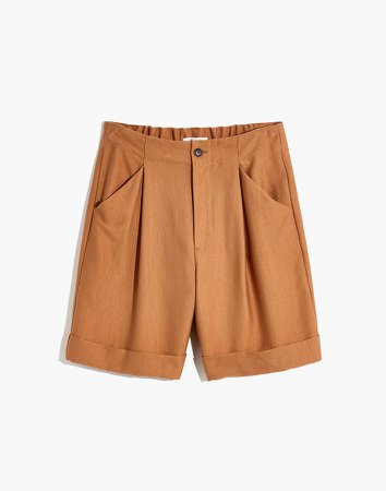Linen-Cotton Drawstring Pull-On Shorts