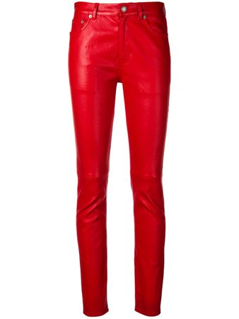 Shop red Saint Laurent slim-fit leather trousers with Express Delivery - Farfetch