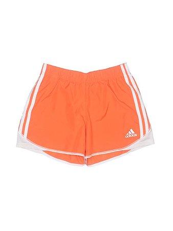 Adidas low rise orange striped print athletic shorts