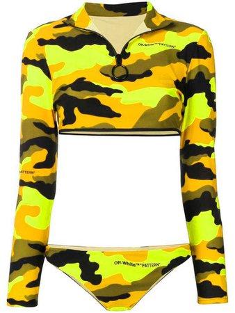 Off-White camouflage print long-sleeved bikini - Yellow