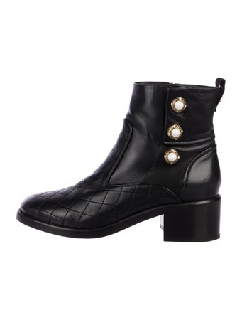 Chanel 2017 Embellished Quilted Boots - Shoes - CHA296419 | The RealReal