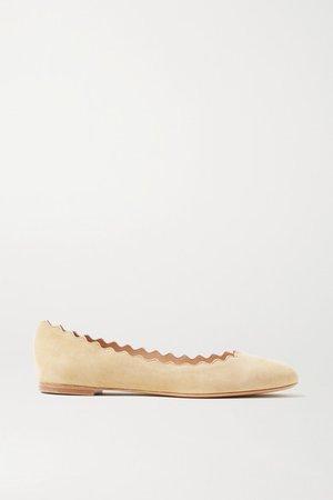 Lauren Scalloped Suede Ballet Flats - Beige