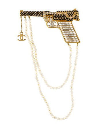 Chanel Faux Pearl & Strass Pistol Brooch - Brooches - CHA350880 | The RealReal