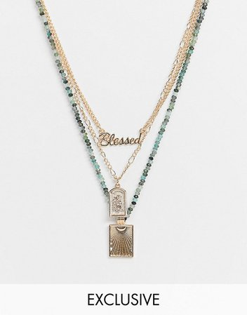 Reclaimed Vintage inspired mixed bead and gold multirow necklace | ASOS