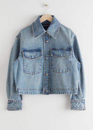 Cropped Boxy Denim Jacket - Dusty Blue - Denimjackets - & Other Stories