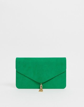 ASOS DESIGN tassel clutch bag in green | ASOS