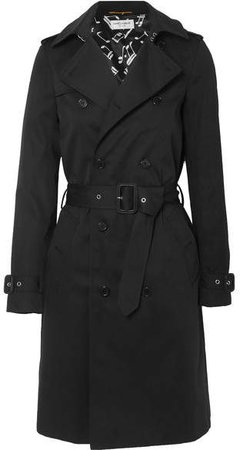 Gabardine Trench Coat - Black