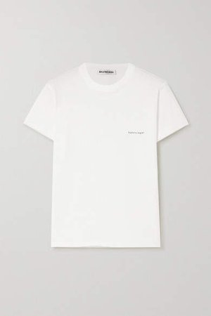 Printed Cotton-jersey T-shirt - White