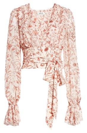 AMUR Helene Tie Waist Floral Silk Top | Nordstrom
