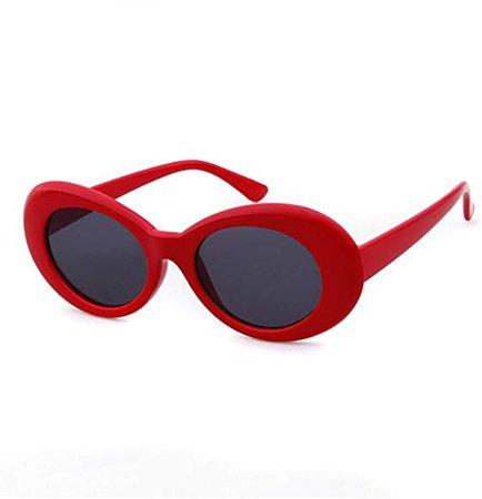 Amazon.com: QIFANDI UV400 Clout Goggles Bold Retro Oval Mod Thick Frame Sunglasses (Red Frame&Black Lens): Shoes
