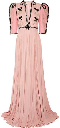 Swarovski Crystal-embellished Wool And Silk-blend And Plissé-chiffon Gown - Pastel pink