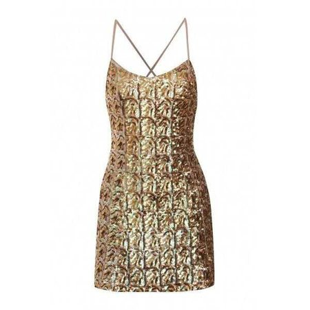 Gold Sequin Cross Strap Mini Dress ($57)