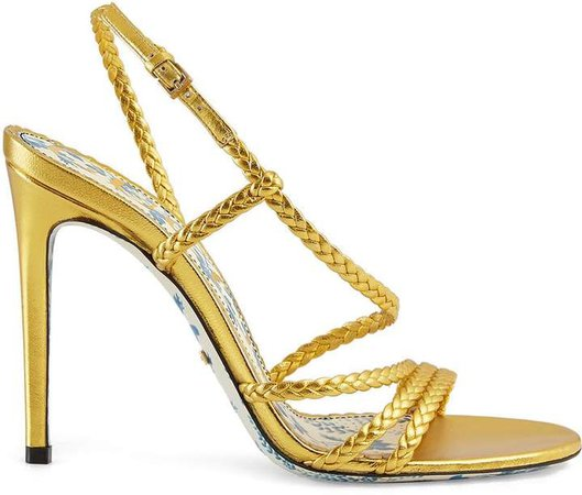 Braided metallic leather sandals