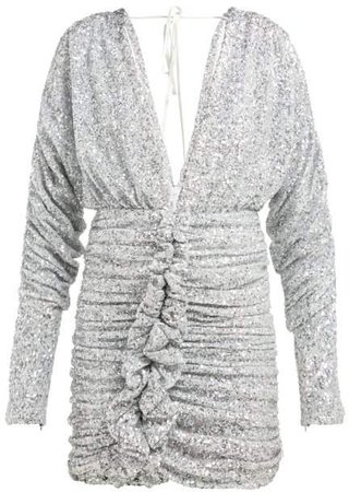 Ruched Silver Sequinned Mini Dress - Womens - Silver