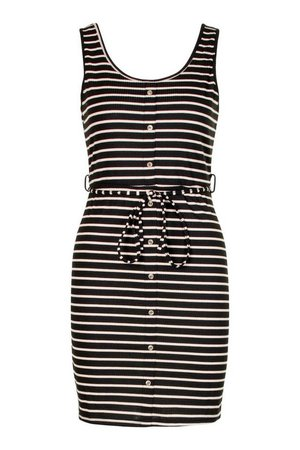 Button Front Stripe Mini Dress | boohoo