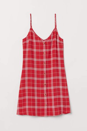 Dress with Buttons - Red