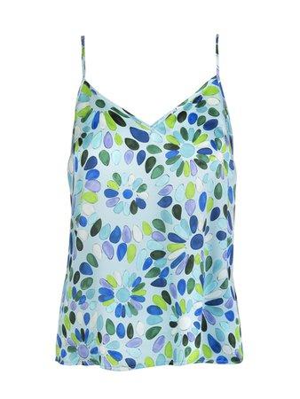 Gianluca Capannolo Teal Blue/multicolour Geometric-print Silk Cami Top | italist