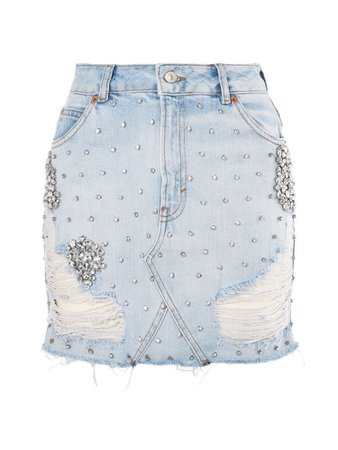 Light blue denim crystal skirt