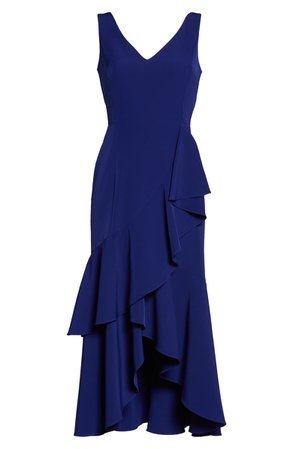Taylor Dresses Crepe Tiered High/Low Midi Dress blue