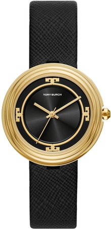 Bailey Watch, Black Leather/Gold Tone/Black, 34 MM