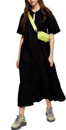 Smocked Poplin Midi Dress
