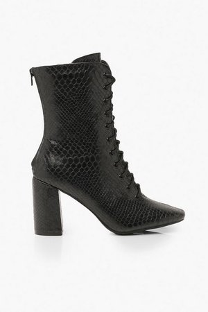 Lace Front Block Heel Shoe Boots   Boohoo black