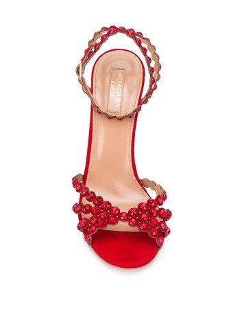 Aquazzura Tequila Embellished Sandals - Farfetch