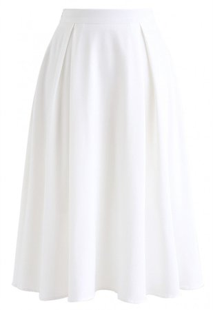 Side Zip Pleated A-Line Midi Skirt in White - Skirt - BOTTOMS - Retro, Indie and Unique Fashion