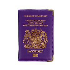 UK Passport Holder Protector Cover Wallet PU Leather United Kingdom EU Purple | eBay