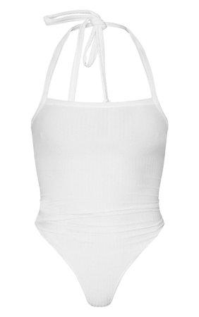 White Crinkle Halterneck Bodysuit   PrettyLittleThing USA