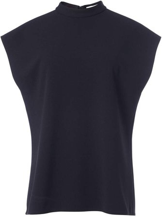 Structured Crepe Mock Neck Sleeveless Top