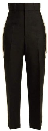 Silk Trimmed Crepe Trousers - Womens - Black