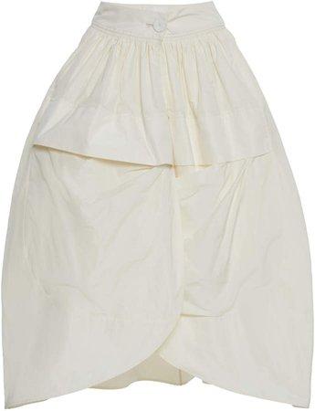 Jil Sander Pleated Satin Mini Skirt