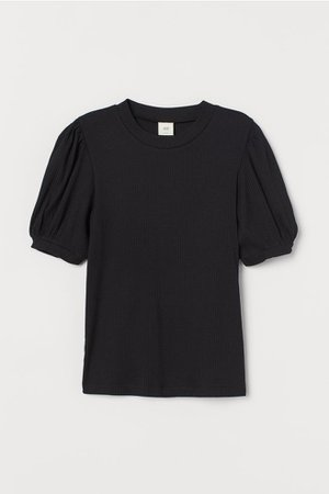 Puff-sleeved Ribbed Top - Black - Ladies | H&M US