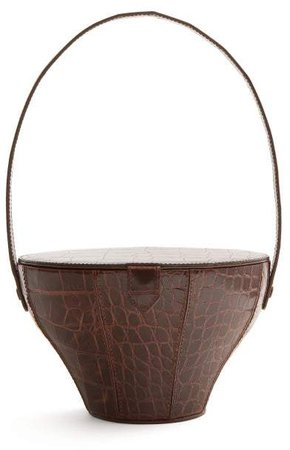 Alice Crocodile Effect Leather Bag - Womens - Dark Brown