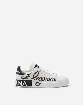 Nappa Calfskin Portofino Sneakers With Eleganza Print