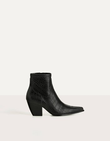 Embossed cowboy ankle boots - Shoes - Bershka Russia