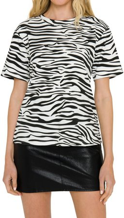 Grey Lab Zebra Print Cotton T-Shirt