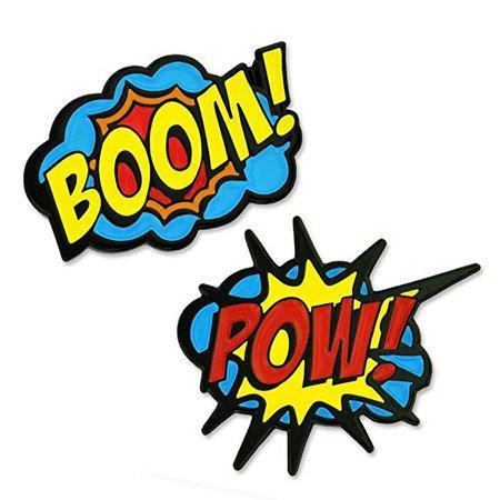 Amazon.com: PinMart Boom! Pow! Trendy Action Comic Book Enamel Lapel Pin Set: Jewelry