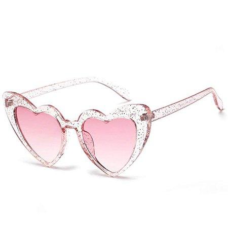 Amazon.com: Love Heart Shaped Sunglasses Women Vintage Cat Eye Mod Style Retro Glasses (babipink, 53): Shoes