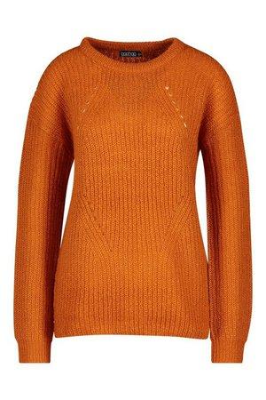 Longline Knit Detail Jumper | Boohoo