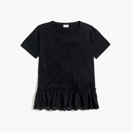 T-shirt with eyelet hem