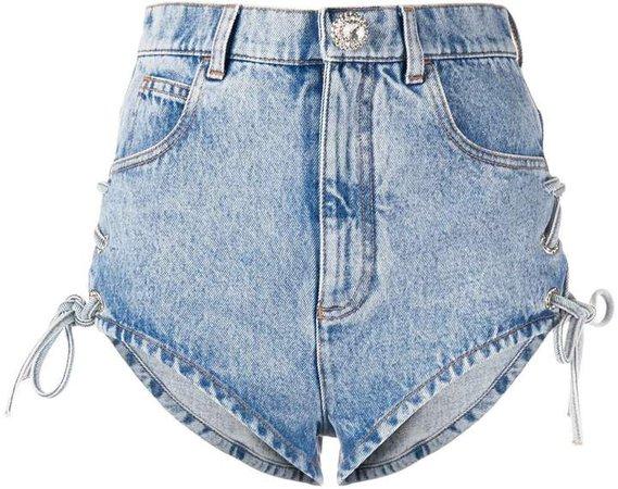 lace-up denim shorts